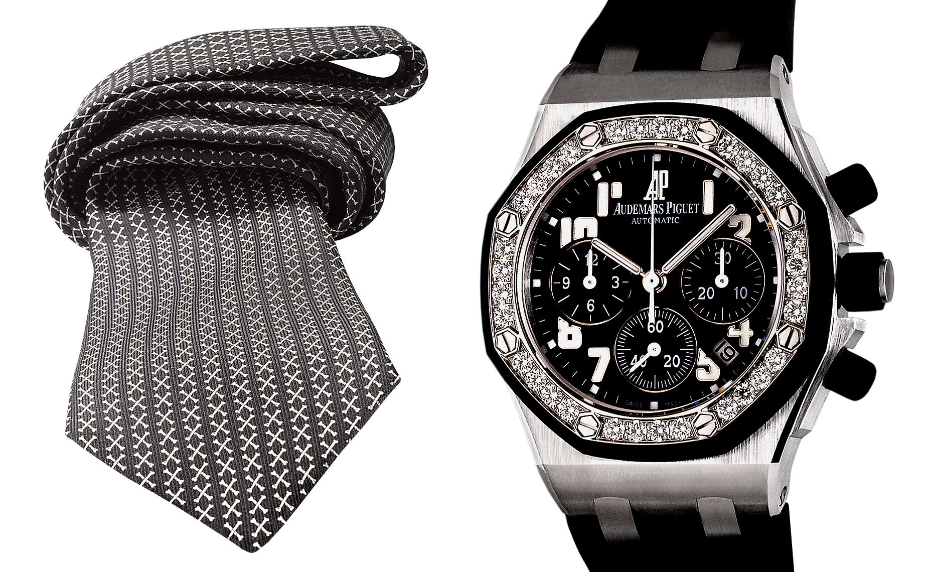 Barker Black crossbone necktie  and Audemars Piguet wristwatch