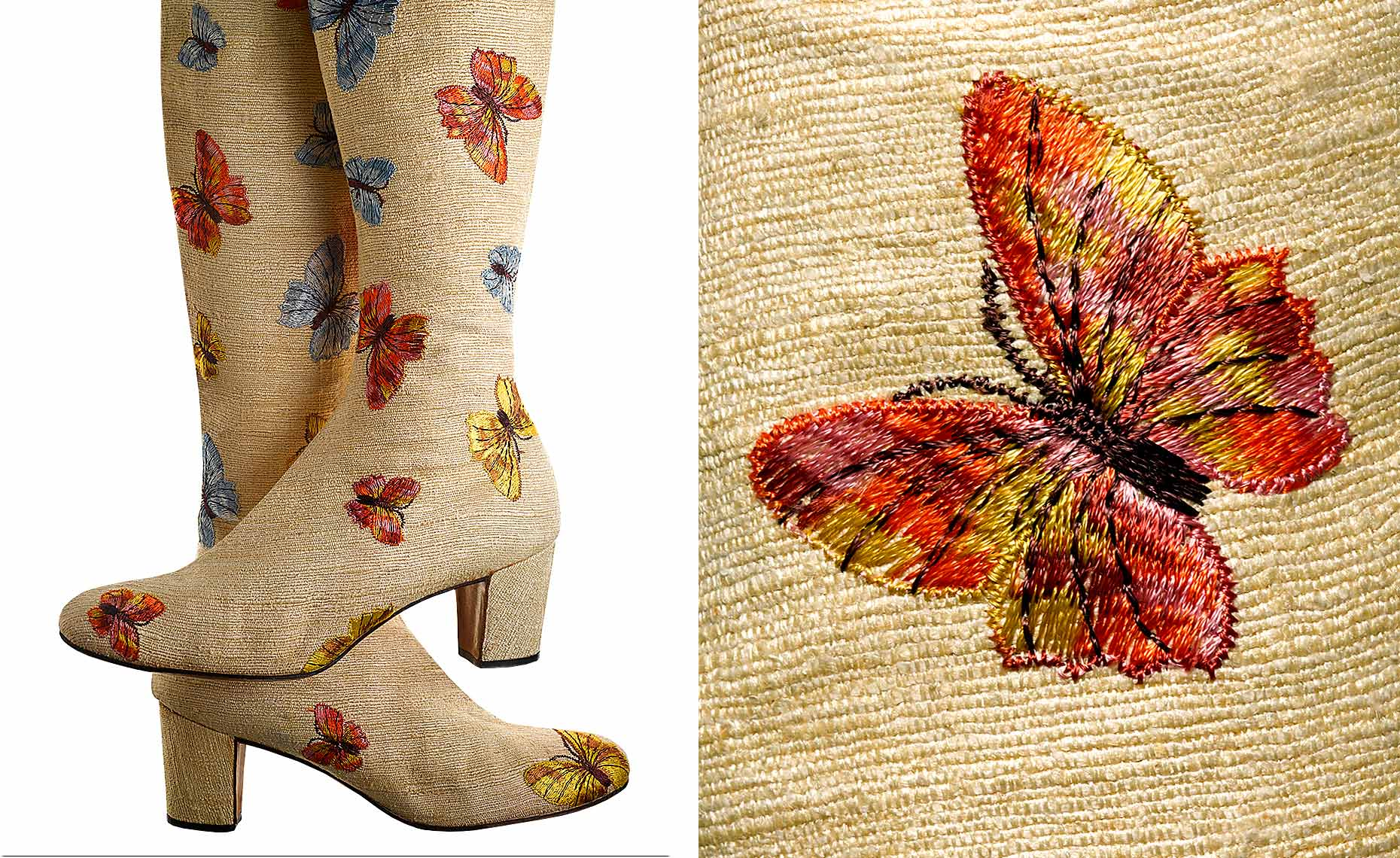 """Butterfly Boot"" coarse linen embroidered boot by Beth Levine"