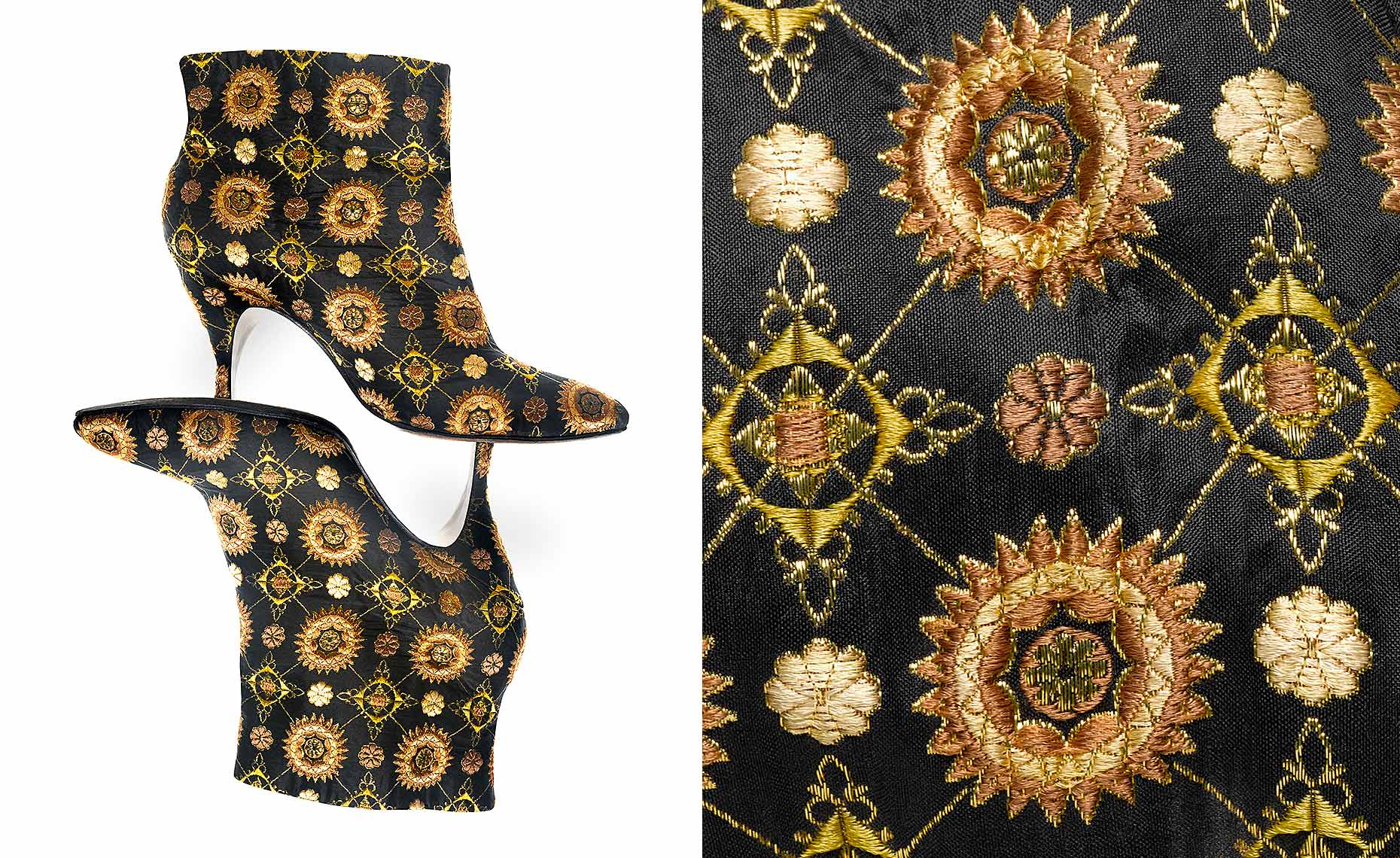 """Chi Chi Boot"" black silk embroidered with gold thread by Beth Levine"
