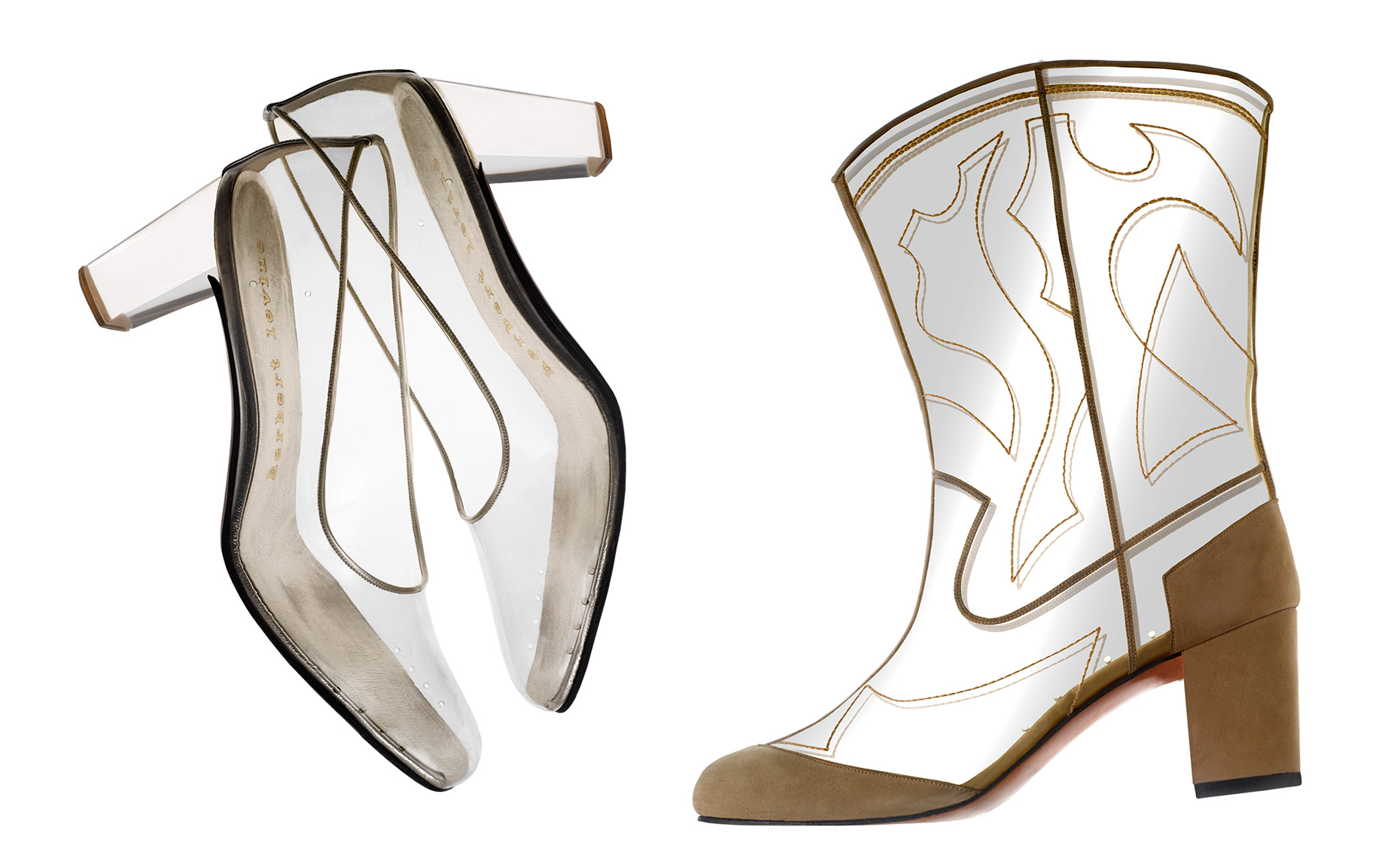 """Cinderella"" clear vinyl shoe with lucite heel and clear vinyl ""Cowboy Boot"" by Beth Levine"