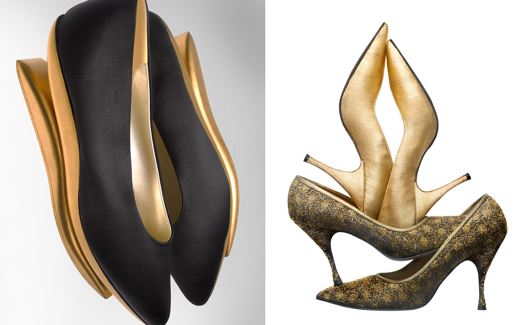 """Kabuki"" inspired shoe in black silk and gold leafed wooden soles and stilettos by Beth Levine"