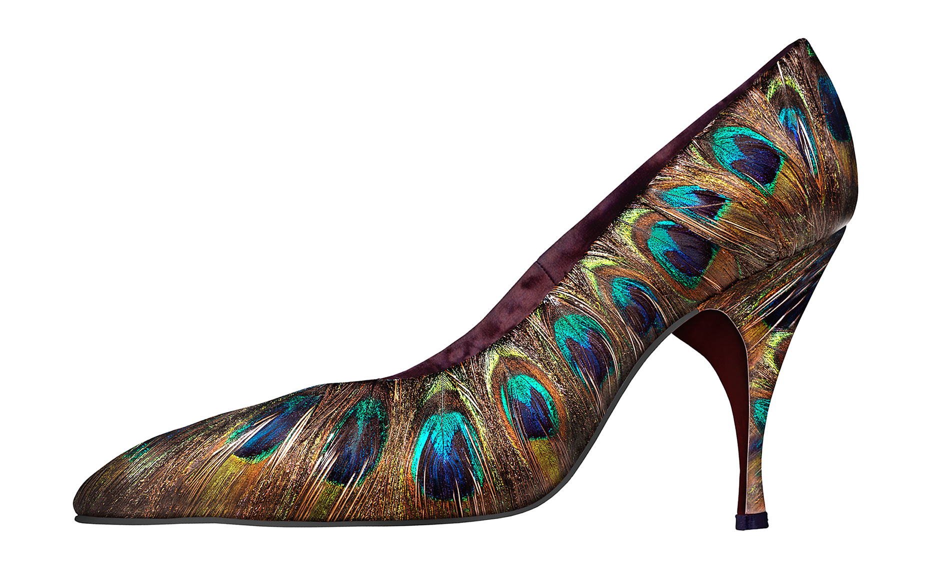 """Peacock"" feather shoe by Beth Levine"