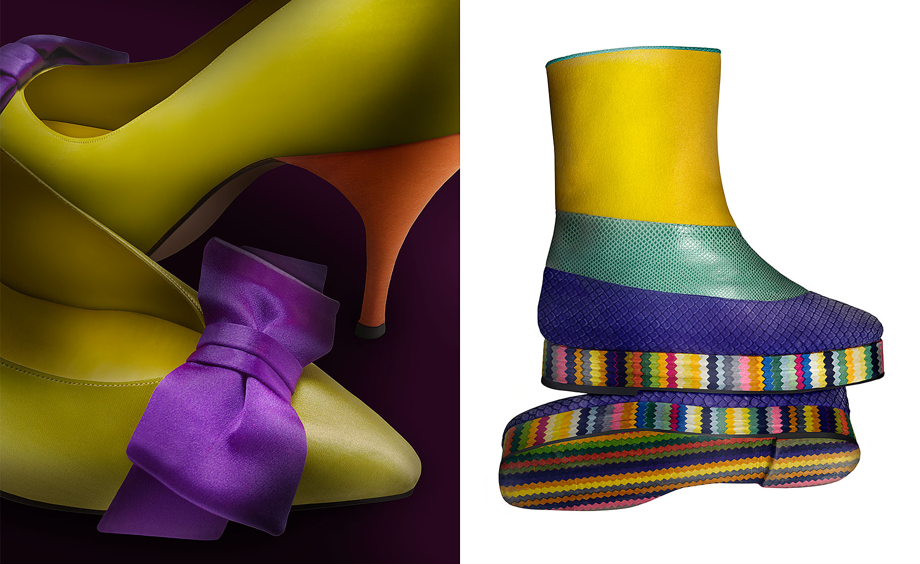 """Tuxedo"" chartreuse, orange and purple pump and ""Technicolor Boot"" by Beth Levine"