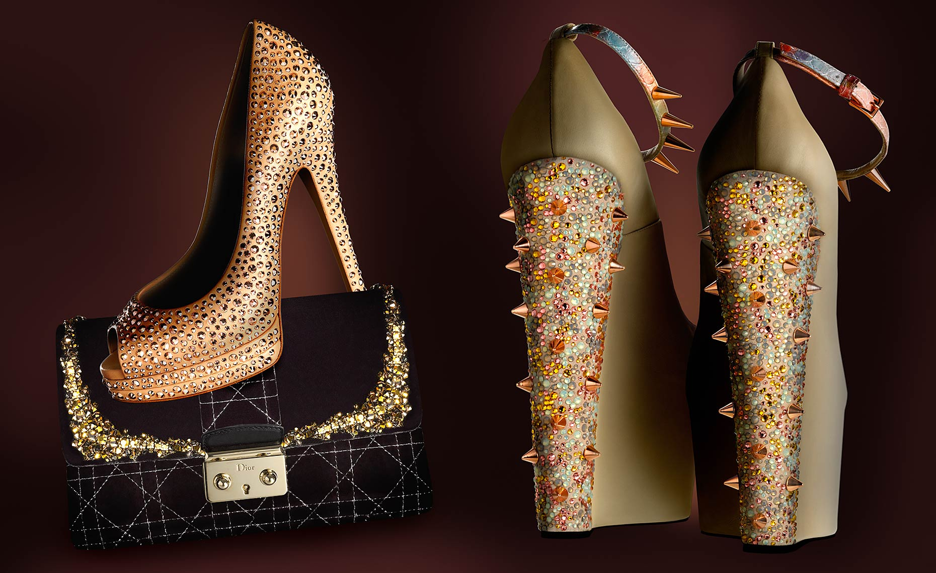 Casadei shoe with Dior handbag and Ruthie Davis platform shoe with Swarovski crystal embellished  heel