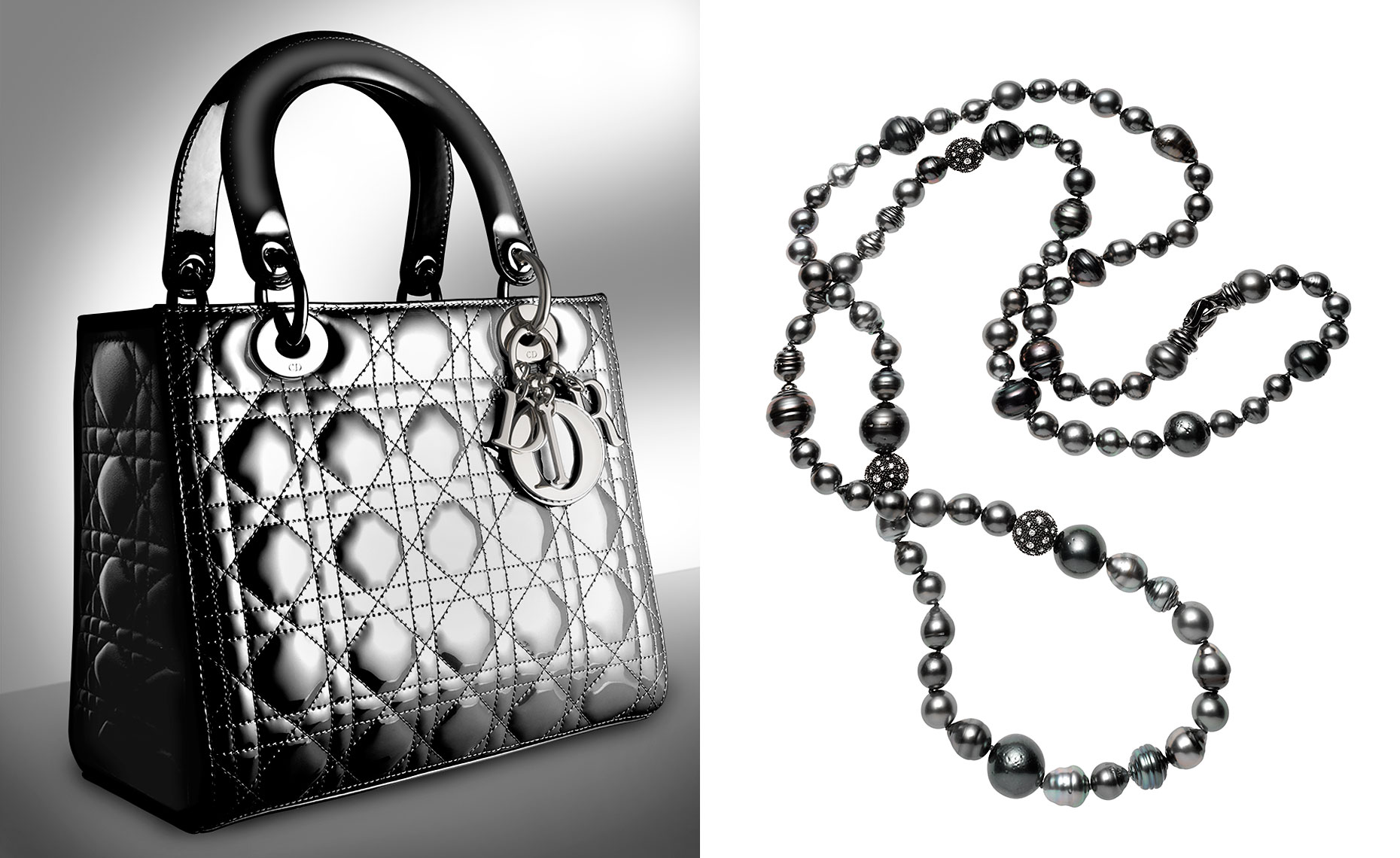 Lady Dior handbag in patent cannage and black pearls