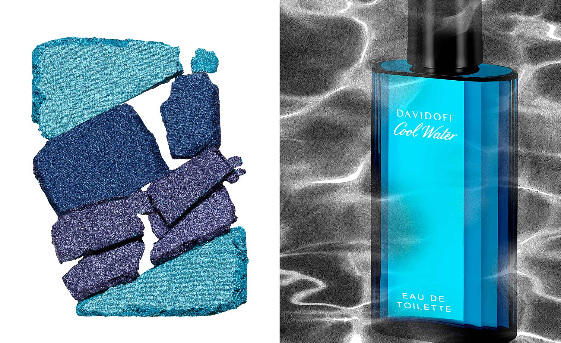 eyeshadow palette and Davidoff Cool Water fragrance