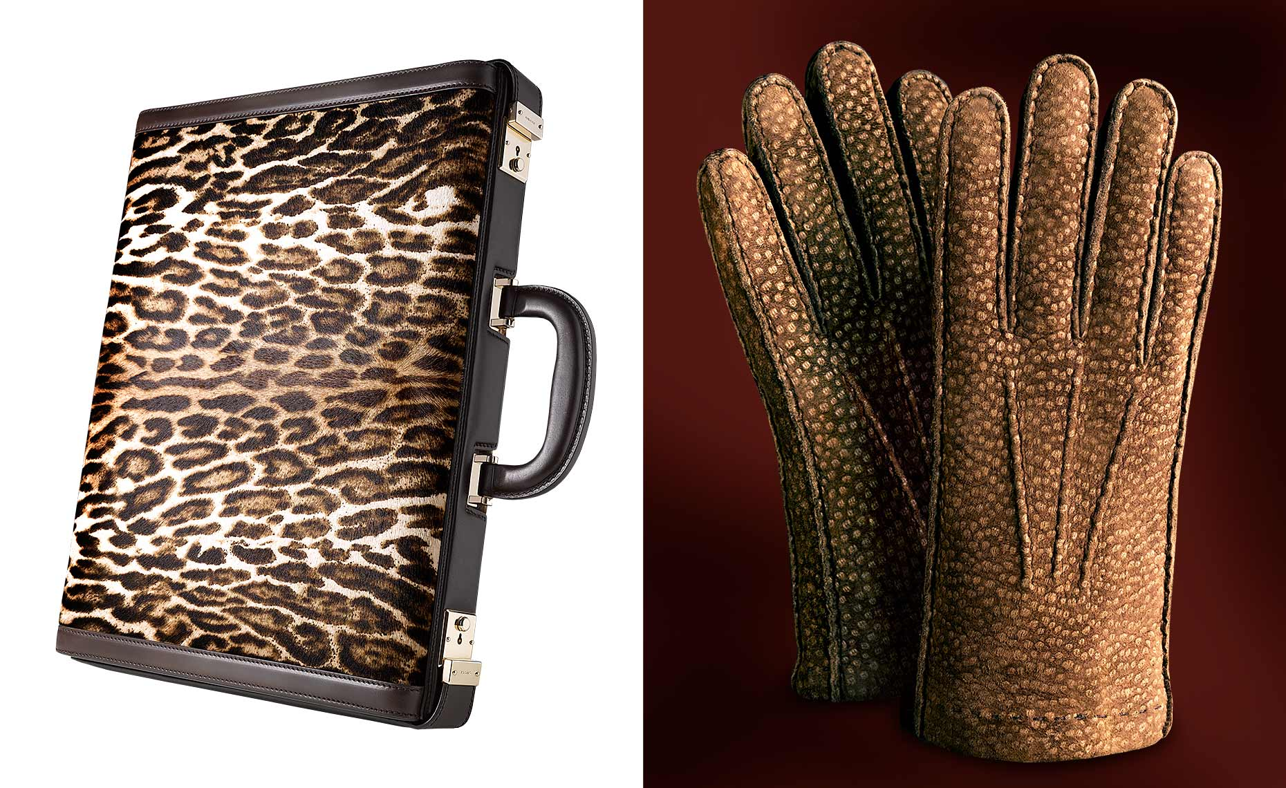 Gucci leopard print briefcase and brown suede gloves