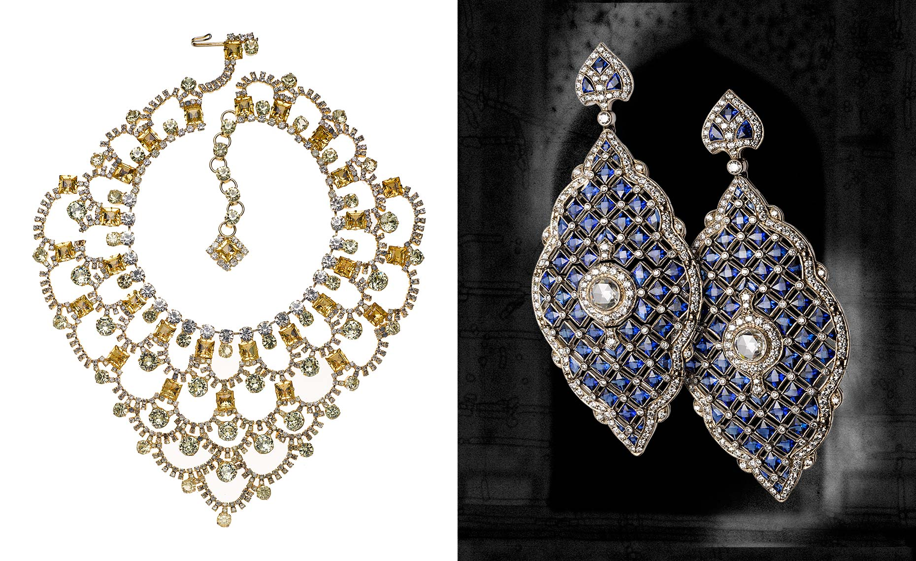Lawrence Vrba designed necklace for La Cage aux Folles and Kwiat  earrings of sapphire and diamond s
