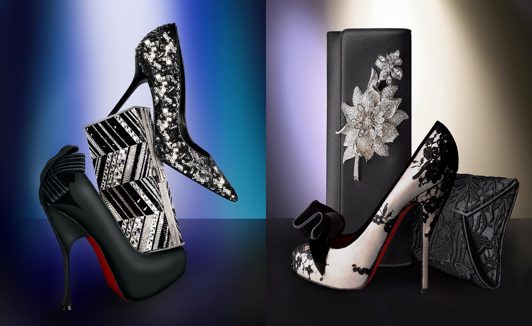 Christian Louboutin and Oscar de la Renta shoes with clutches