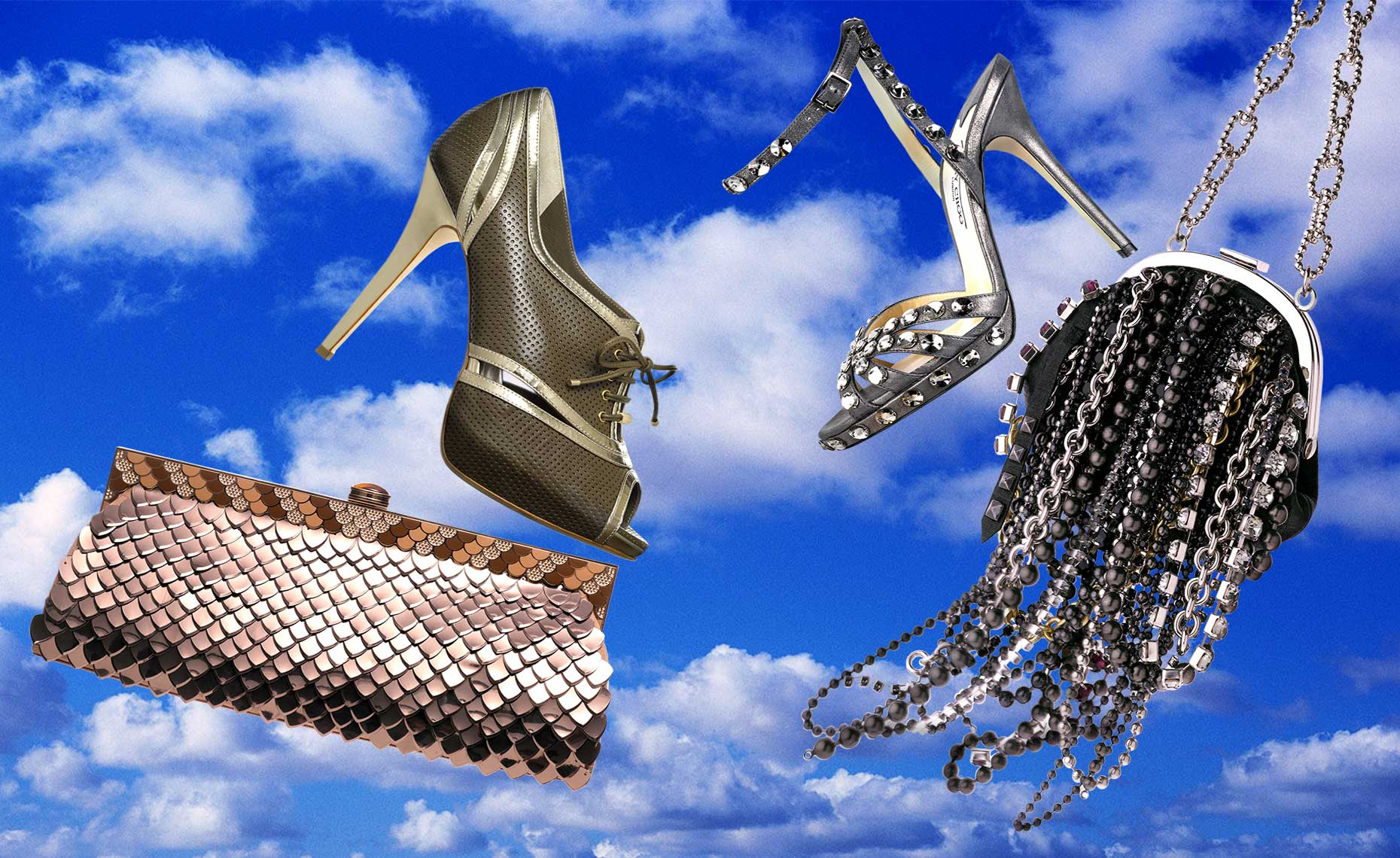 Dior shoe with Judith Leiber clutch and Jimmy Choo shoe with Coach bag
