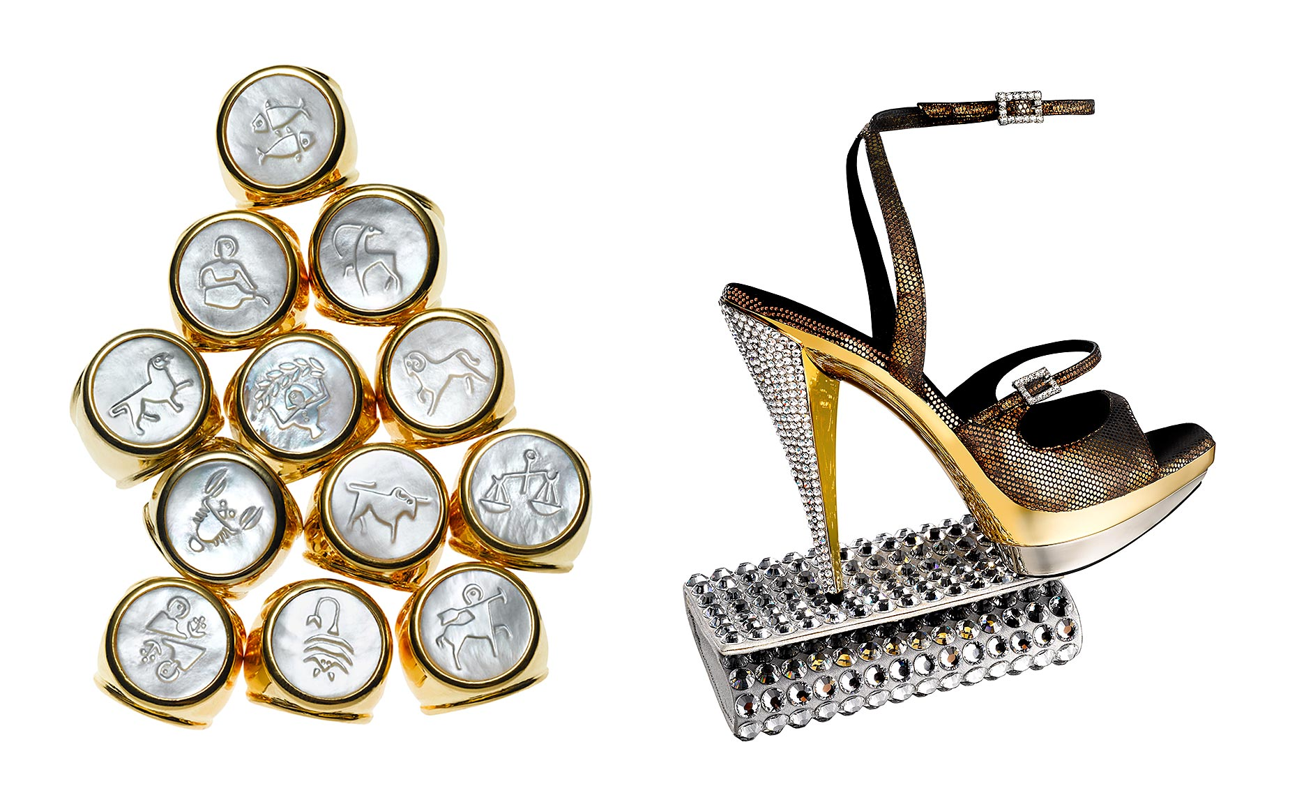 Zodiac Rings by ASHA and Oscar de la Renta shoe with Judith Leiber clutch