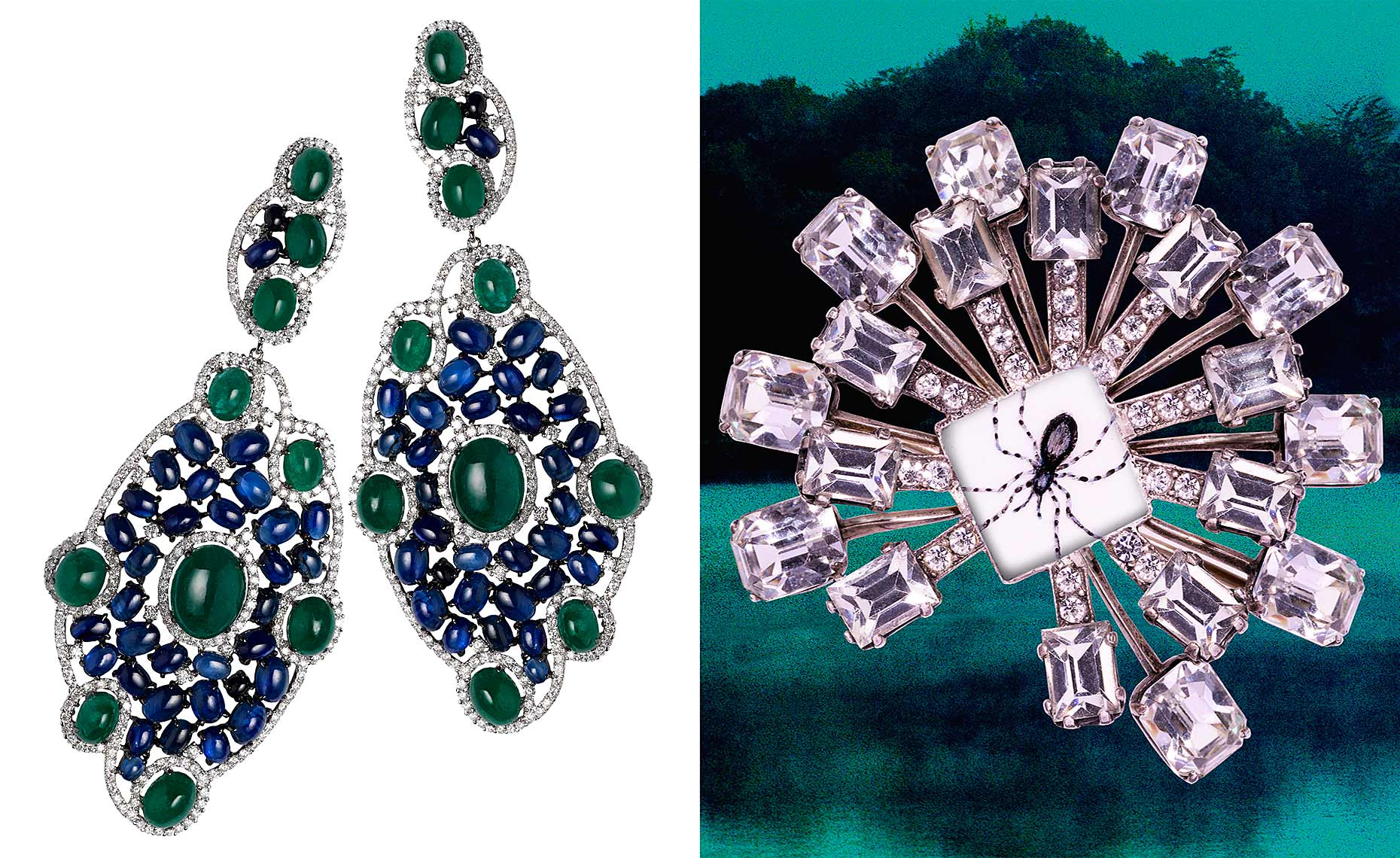 Emerald and sapphire cabochon earrings and Pamela Tuohy spider broach